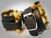 Blk Leather Cuffs with Animal Print Padding (code..R-1013)
