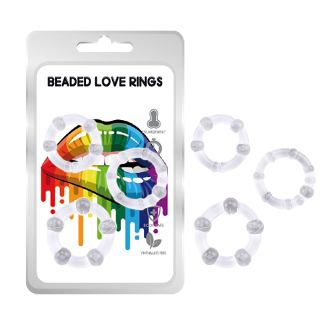 Love -Beaded Love Rings 3 pkt - Clear